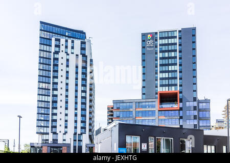Montreal, Canada - May 28, 2017: Downtown area with Alt Hotel building skyscrapers during day outside in Quebec - Stock Photo
