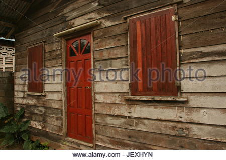 Traditional house in Paramaribo, Suriname. - Stock Photo