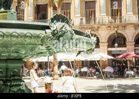 of fountain at Royal Square (Plaza Real) in Barcelona, Spain. - Stock Photo