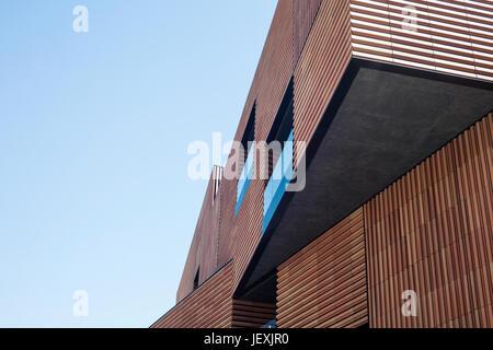 Modern architecture, geometric building for new Massana art school at Gardunya square near Boqueria market in Barcelona, Spain
