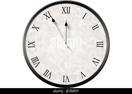 Roman numeral clock counting down - Stock Photo