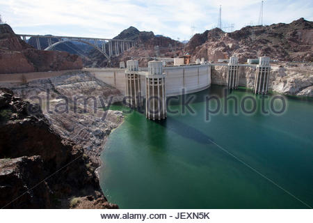 Hoover Dam intake towers at low water in Lake Meade National Recreation Area, Nevada. - Stock Photo