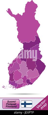 boundary map of finland with borders in violet - Stock Photo