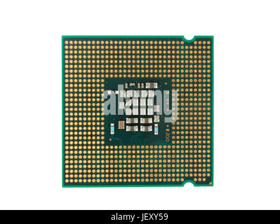 Computer CPU Chip Isolated On White background - Stock Photo