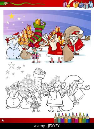 illustration, christmas, page, bookpage, cartoon, book, xmas, x-mas, laugh, - Stock Photo