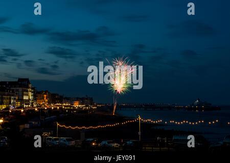 fireworks display,Eastbourne 1812 concert,east sussex,uk - Stock Photo