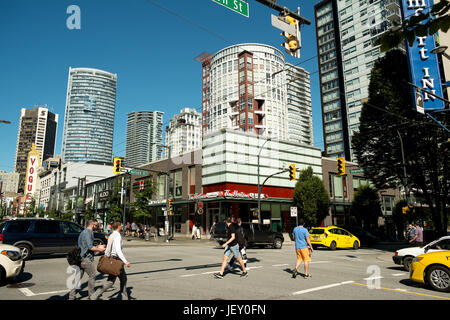 The corner of Nelson and Granville streets in the Yaletown neighbourhood of downtown Vancouver BC, Canada. - Stock Photo