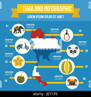 Thailand travel infographic concept, flat style - Stock Photo