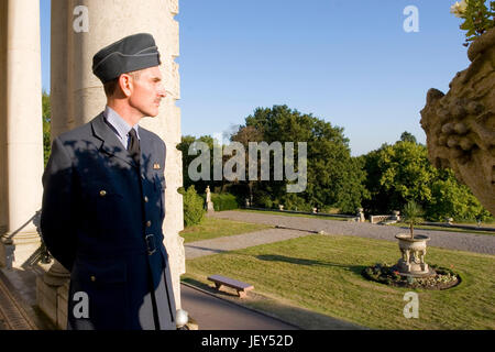 Air Chief Marshal Sir Hugh Dowding looks across London from his Balcony at Bentley Priory in 1940 accurate re-enactment - Stock Photo