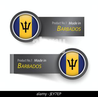 Flag icon and label with text made in Barbados . - Stock Photo