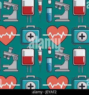 seamless pattern with medical elements   - Stock Photo