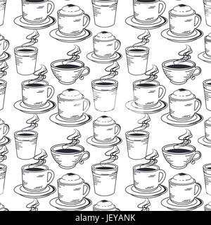 hand drawn set coffee - Stock Photo