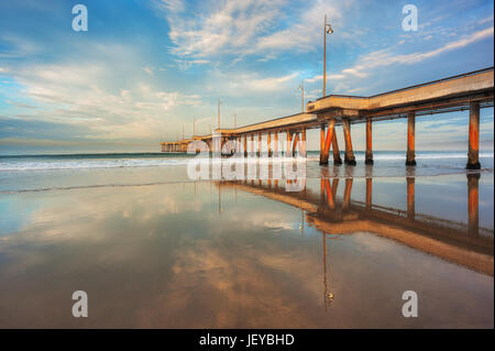 The iconic Venice Fishing Pier photographed after sunrise in Marina Del Rey, CA. - Stock Photo