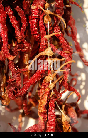 close up shot of dried red peppers - Stock Photo