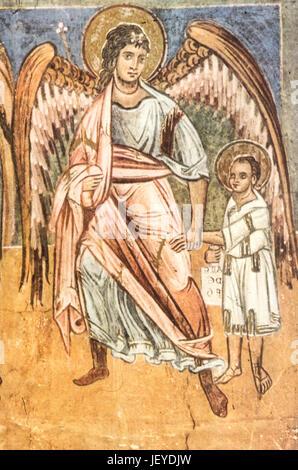Angel leads to the desert St. John the Baptist, life of St. John the Baptist, 13th century, baptistery, parma - Stock Photo