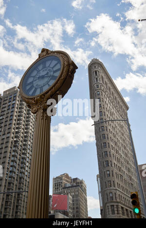 fifth avenue building clock in the flatiron building district New York City USA - Stock Photo