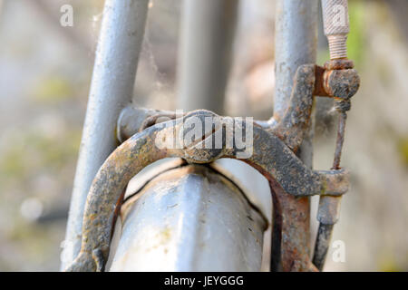 Side-pull brake caliper on old bicycle. - Stock Photo