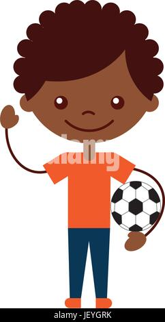 cute african boy with soccer balloon character icon - Stock Photo