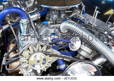 Close-up of a Hot Rod engine at the 2017 Haynes village 100 motor show, Haynes, Bedfordshire, UK. - Stock Photo