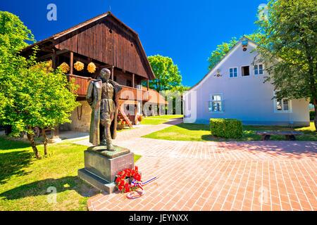 Kumrovec picturesque village in Zagorje region of Croatia, statue of Josip Broz Tito, former leader of Yugoslavia - Stock Photo