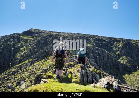 Female hikers scrambling up Llech Ddu spur or Crib Lem to Carnedd Dafydd in Carneddau mountains of Snowdonia National - Stock Photo