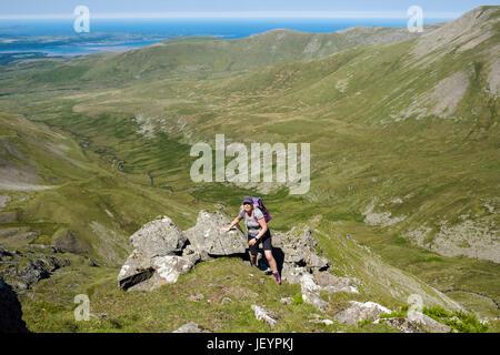 Hiker scrambling on Llech Ddu spur or Crib Lem above Cwm Pen Llafar to Carnedd Dafydd in Carneddau mountains of - Stock Photo