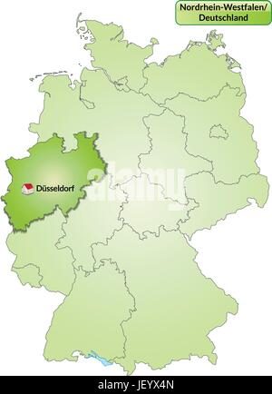 map of north rhine-westphalia with capitals in green - Stock Photo