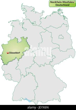 map of north rhine-westphalia with capitals in pastel green - Stock Photo