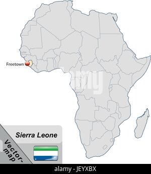 island map of sierra leone with capitals in pastelorange - Stock Photo
