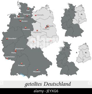 map of divided germany in gray stock photo