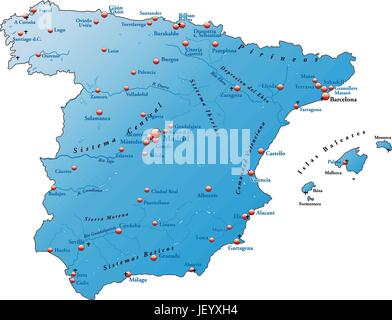 Spain card outline borders atlas map of the world map stock card atlas map of the world map spain card outline gumiabroncs Gallery
