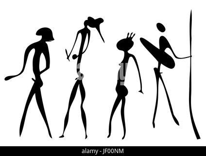 art, warrior, primeval, vector, aboriginal, savage, haggardly, detail, art, - Stock Photo