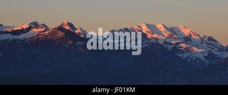 Sunrise in the Bernese Oberland - Stock Photo