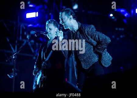 Milan, Italy. 27th June, 2017. The english electronic rock band Depeche Mode pictured on stage as they perform at - Stock Photo