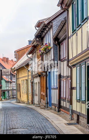 Half-timbered houses in Wernigerode, Germany - Stock Photo