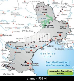Roussillon France Map.Languedoc Roussillon France Map Grey Stock Photo 169155553 Alamy