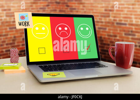 business man and woman select happy on satisfaction evaluation? And good mood smiley - Stock Photo