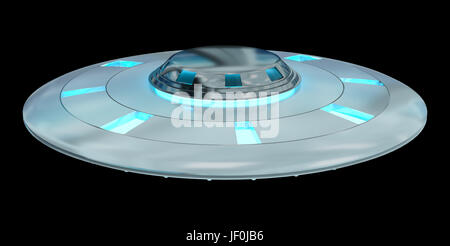 Metal and silver vintage UFO isolated on black background 3D rendering - Stock Photo