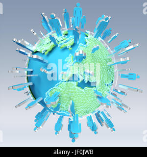 3D rendering group of icons people surrounding planet Earth on grey background - Stock Photo