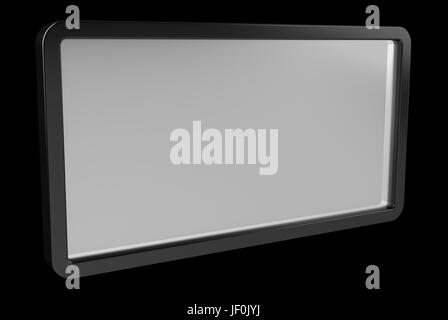 Simple digital screens tablet 3D rendering isolated on black background - Stock Photo