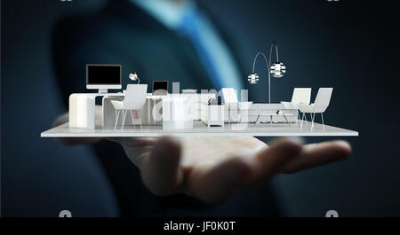 Businessman on blurred background holding white 3D rendering apartment - Stock Photo