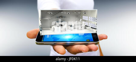 Businessman on blurred background holding white 3D rendering apartment over mobile phone - Stock Photo