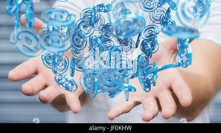 Businessman on blurred background using digital arobase blue sphere to surf on internet 3D rendering - Stock Photo