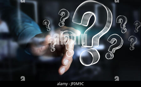 Businessman on blurred background touching hand drawn question marks - Stock Photo