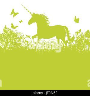 unicorn on pasture - Stock Photo