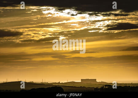 Anglesey Sunset - Wylfa  Nuclear Power Station - Stock Photo
