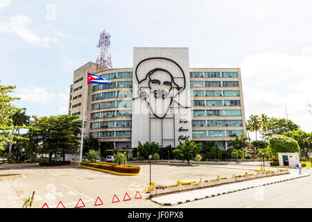 Fidel Castro Cuba sculpture in Revolution Square Havana Cuba, Plaza de la Revolución, Fidel Castro Revolution Square, - Stock Photo