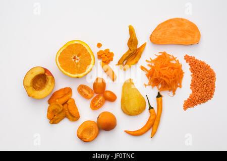 Shades of Orange on a white background. - Stock Photo
