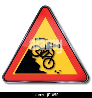 sign attention crash on the slope on a mountain bike - Stock Photo