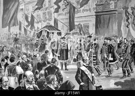Historical illustration showing Kossuth's funeral procession in Budapest. Lajos Kossuth de Udvard et Kossuthfalva, - Stock Photo